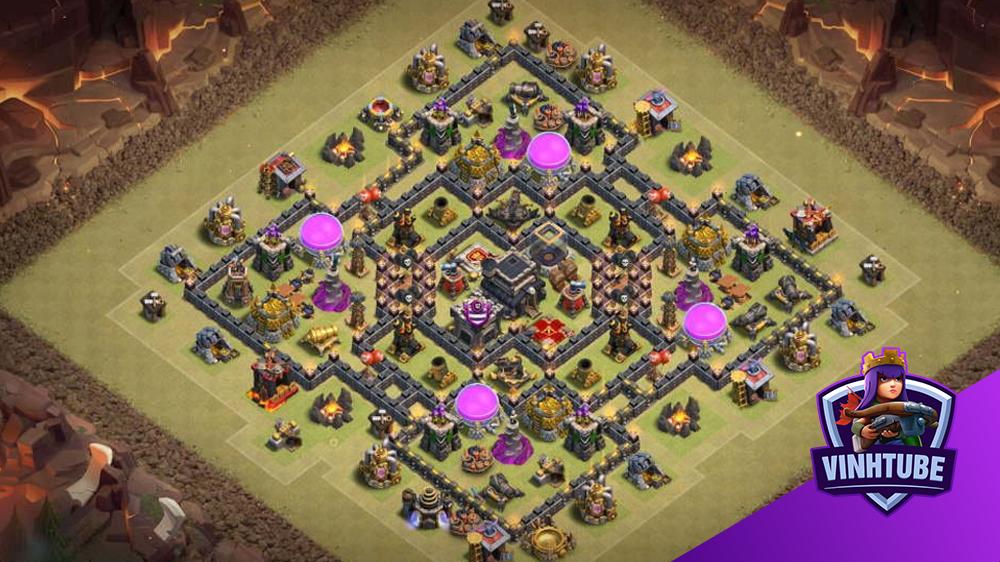 Chia sẻ mẫu base TH9 War/thủ tài nguyên | Clash of Clans