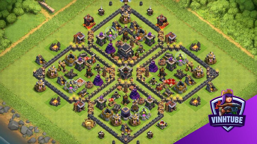Base TH9 Bay Cup TITAN, thủ tài nguyên, thủ War vô cùng hiệu quả | Clash of Clans