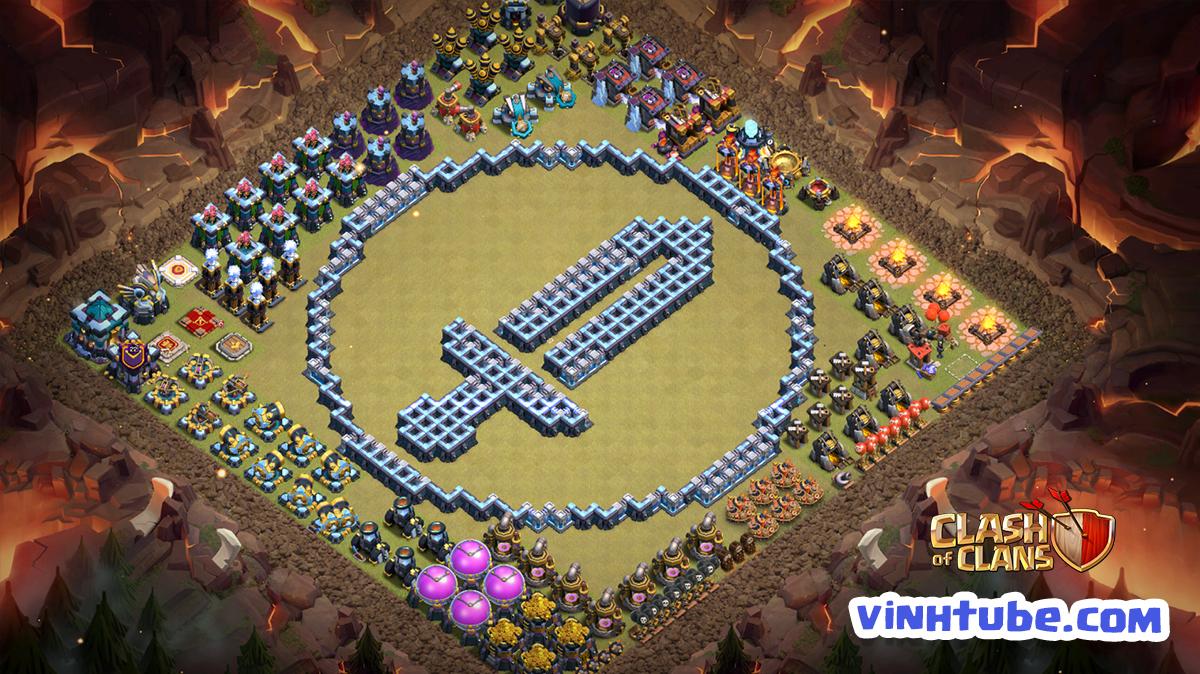 "BASE TROLL TH13 ""thanh gươm Barbarians"" | Clash of Clans"