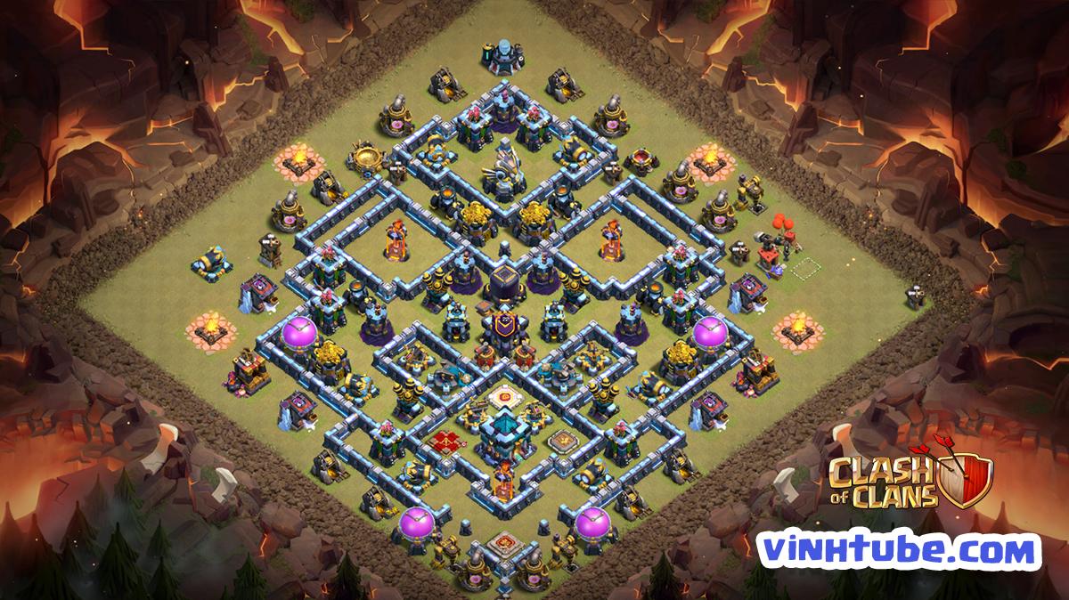 Mẫu Base TH13 khuấy đảo Clan War League | Copy Link | Clash of Clans