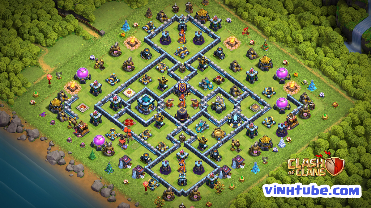 Base TH13 Leo Rank Huyền Thoại Thủ War hiệu quả | Clash of Clans