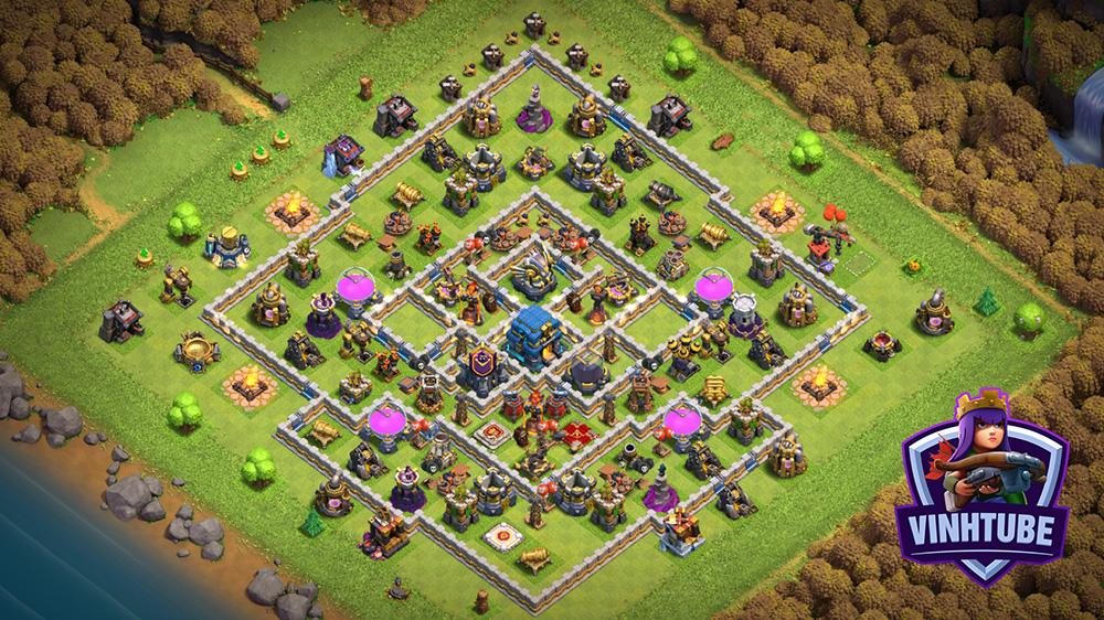 Mẫu căn cứ TH12 Thủ tài nguyên + Thủ War cực tốt | Pushing Base War/Trophy TH12 | Clash of Clans