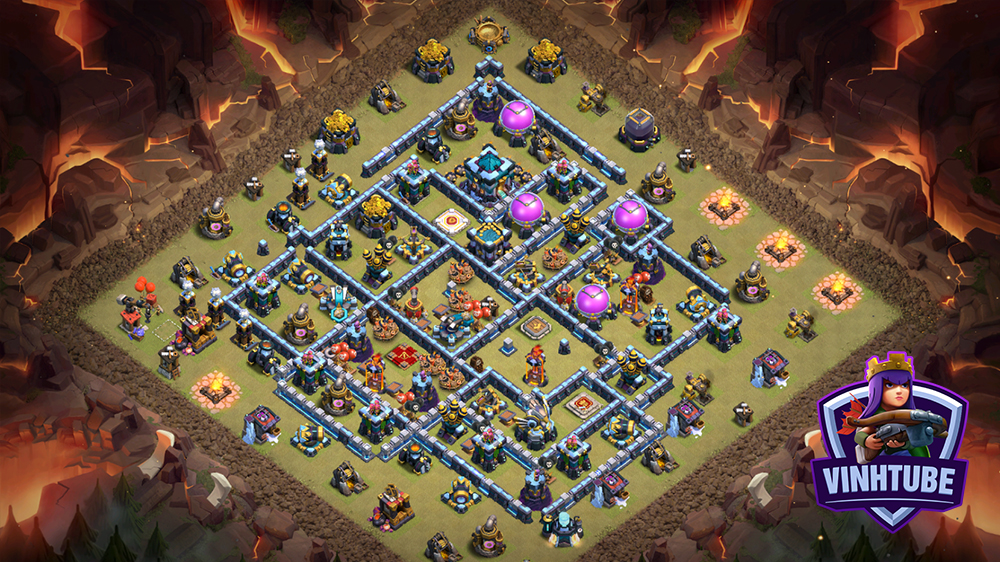 Mẫu Base TH13 Thủ War Thường/Clans War League/Leo Rank | Copy base link TH13 | Clash of Clans