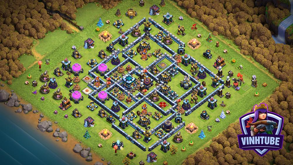 Mẫu căn cứ TH13 Leo Rank Huyền Thoại Chống được 3 sao cực kì tốt | Copy Base Link TH13 | Clash of Clans
