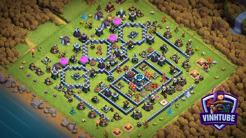 BASE TH13 War/Trophy | Mẫu Base TH13 thủ War/Bay Cup Huyền Thoại mới nhất | Clash of Clans