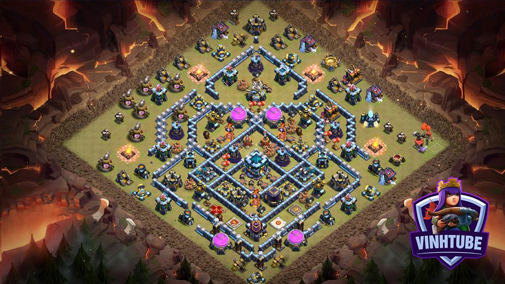 TH13 War/Trophy Link Base | Mẫu Base TH13 Thủ War/Leo Rank Huyền Thoại | Clash of Clans