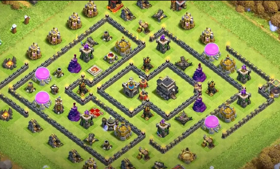 Mẫu base link TH9 bay cup huyền thoại | Clash of Clans copy link base