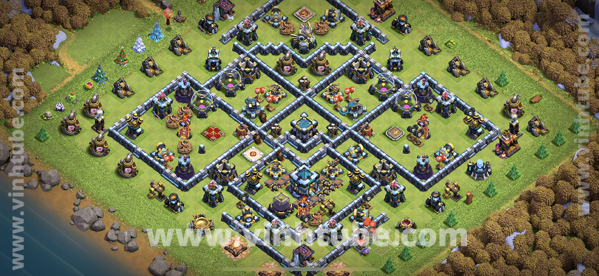 Mẫu Base TH13 leo rank huyền thoại/war league 2021 | New Base Link TH13 2021
